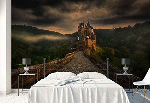 (Photo wallpaper wall mural - Cobblestone Walk Way Old Castle - Theme Travel & Maps - L - 8ft 4in x 6ft (WxH) - 2 Pieces - Printed on 130gsm Non-Woven Paper - 1X-1182027V4)