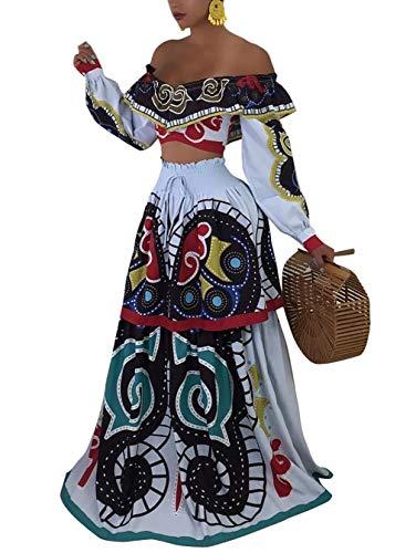 Women Sexy Off Shoulder Long Sleeve Wrap Crop Top 2 Piece Outfits Ruffle Long Maxi Dress Skirt Set with Belt Plus ()