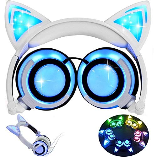 Cat Ear Headset KEBIDU Rechargeable Cat Headphones Glowing On-ear Foldable LED Gaming Flashing Lights USB Charger Earphone Headset for IOS Android Phone Laptop (White)