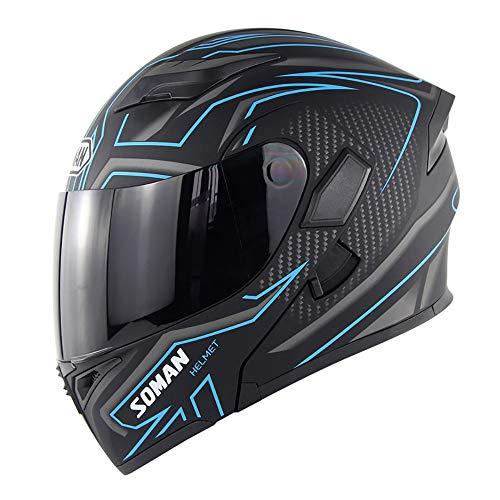 Modular Motorcycle Helmet Full Face Helmet Street Bike Cycling Helmet D.O.T Certified Double Visor Impact Resistance Anti-Fog Full-Covering Color Lens,Brown,L