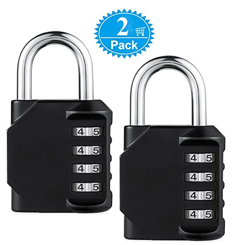 Combination Padlock BeskooHome [2-Pack] Resettable Anti Rust and Waterproof Lock With 4-Digit Smooth Dial For Gym, School, Garage, Tool Box, Garden Gate & Outdoor Shed Locker, Fence – Black