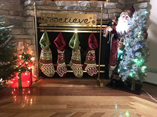 - TisYourSeason Believe Christmas Stocking Holder Stand in Gold Color
