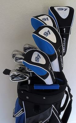Mens Golf Set Clubs Driver, Woods, Hybrid, Irons, Putter and Cart Bag Complete Stiff
