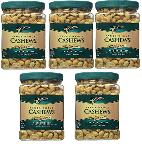 Planters Fancy Whole Cashews, Salted, 33 Ounce, 5 Tubs by Planters (Image #1)