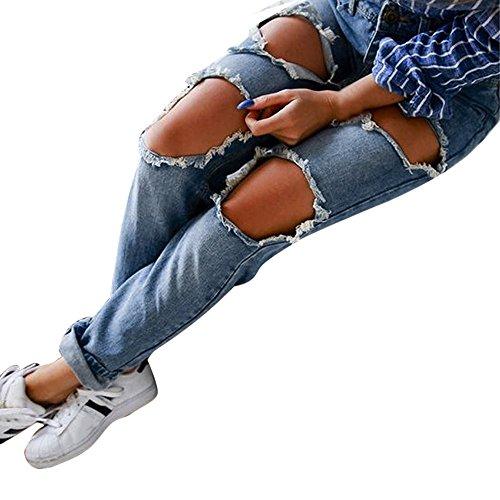 SANFASHION Jeans Taille Moyen Trou Mode Femme Pantalon Denim Chic Slim Loose Casual Bleu