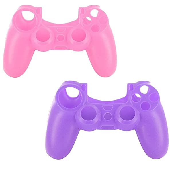 lilyy® 2 Pack Silicone Case Skin Protector Cover For Playstation 4 PS4 Wireless Game Controller(Pink,Purple) (Color: PI&PU)
