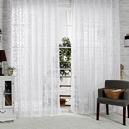 Voile pour rideaux en jacquard R.Lang - Couleur blanche - Vendu au ...