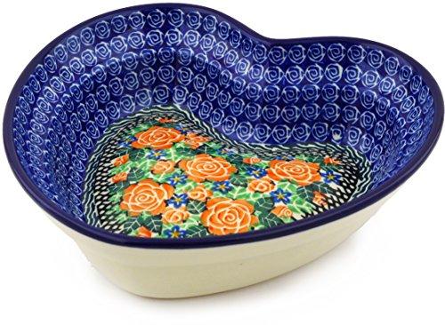 - Polish Pottery 8-inch Heart Shaped Bowl made by Ceramika Artystyczna (Rose Emporium Theme) Signature UNIKAT + Certificate of Authenticity