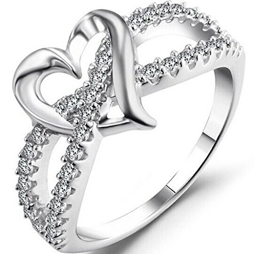 Silver Plated Heart Shape - Jude Jewelers Silver Plated Heart Shape Split Shank Ring (Silver, 9)
