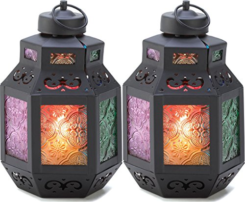 2 Moroccan Rainbow'S Delight Candle Lantern Centerpieces Decor Small