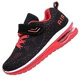 JARLIF Kids Athletic Tennis Running Shoes Breathable Sport Air Gym Jogging Sneakers Boys & Girls (12 M US Little,Kid BlackRed)