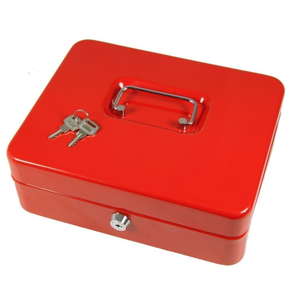 Ashley BB-CB112 8-Inch Metal Cash Box with 2 Keys - Color May Vary