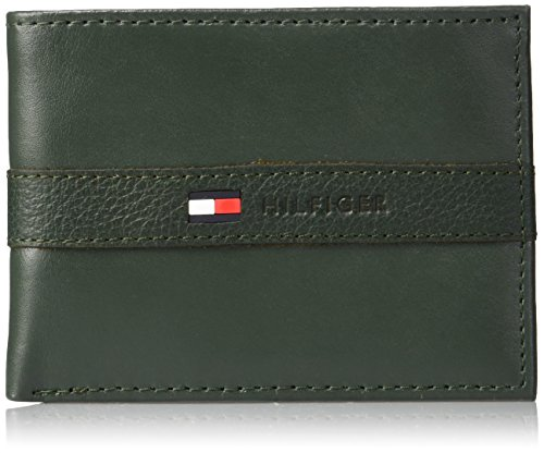 Tommy Hilfiger Men's Leather Wallet - Thin Sleek Casual Bifold with 6 Credit Card Pockets and Removable ID Window, Dark Green -