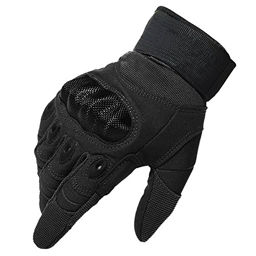 FoolHome Full Finger Hard Knuckle Protective Gloves Men Fit for Outdoor Sports Like Cycling Motorcycle Hiking Camping Powersports Airsoft Paintball (Black, Medium)