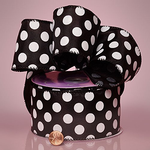 2-1/2'' X 20YD BLACK JUMBO DOTS WIRED SATIN RIBBON by Paper Mart