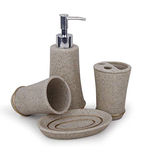 Signstek 4PCS Bathroom Accessory Set Toilet Requisites: Soap Dish, Dispenser, Holder,Tumbler