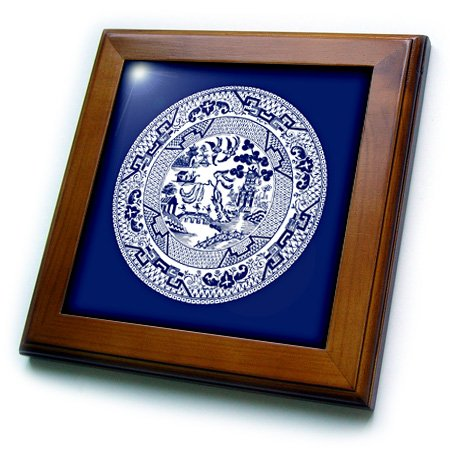 3dRose Willow Pattern in Delft Blue and White-Framed Tile, 8 by 8-inch (ft_220439_1)