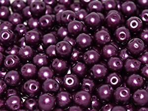 50pcs Roun Duo Beads–Impresión Checa Perlas con dos agujeros redondos, 5mm de diámetro, alabastro Pastel Bordeaux