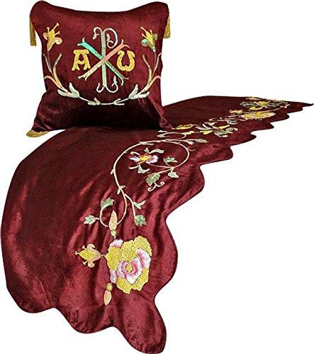 赤ランナー、45 x 170 cmデザイナーいっぱいベッドスカーフ赤ベルベット手で刺繍、ドングリで刺繍 Precious Rose B07CQ1K44Z フル 45_x_170_cm ベッドランナー|A5. 栗色/ゴールド/緑 A5. 栗色/ゴールド/緑 フル 45_x_170_cm ベッドランナー