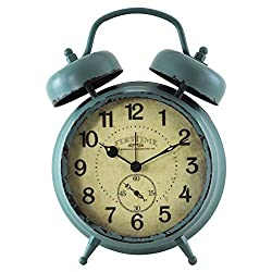 FirsTime 25681 Teal Double Bell Alarm Tabletop Clock Aged