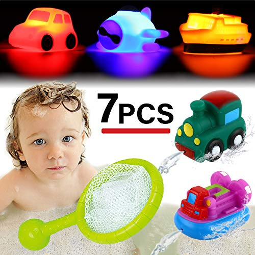 (Bath Toy, Light up&Spray Water Rubber Floating Set With Fishing Net and Organizer Bag(7 Pack), Boat Catching Game For Kids Babies And Toddlers Bathtub Time, Best Gift For Boys Girl Child Pool Party)