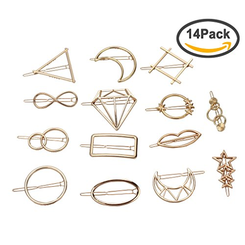 ANBALA 14pcs Minimalist Dainty Gold Geometric Metal Hairpin Hair Clip Clamps for Women Girls, Circle, Triangle, Rhombus, Star, Moon, Diamond, Infinity etc - Double Circle Clip