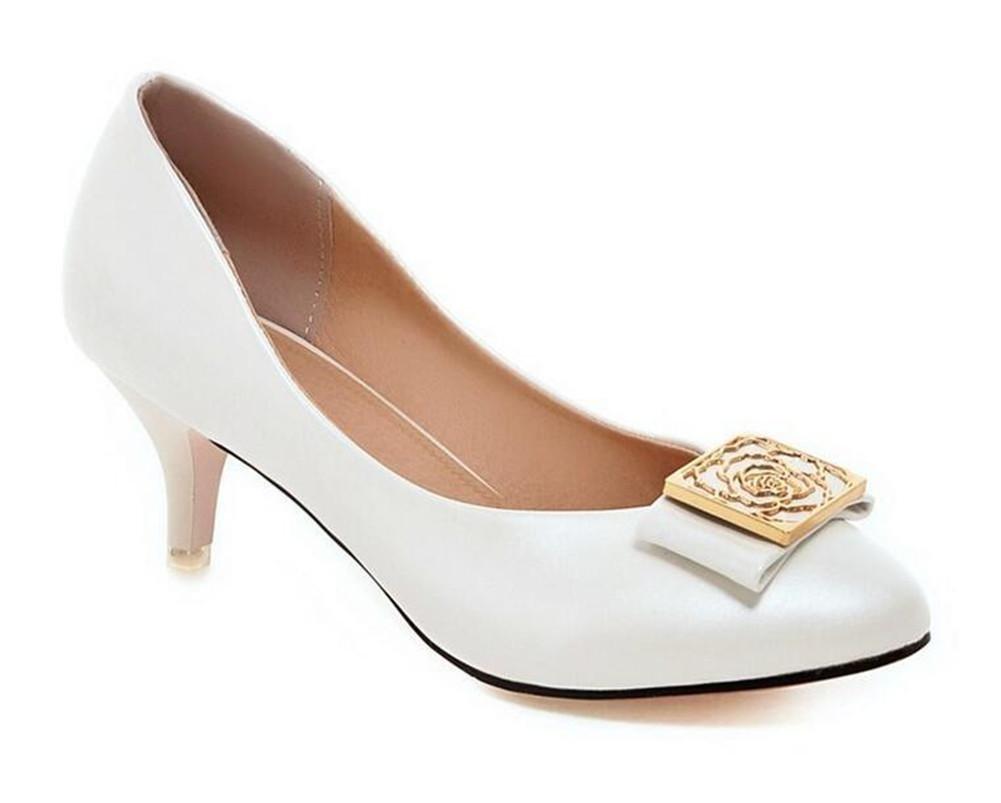 XIE damen damen damen 's Court Schuhe Dünn mit Low - Heeled Shallow Mund Spitze Zehe Metall Solide Schuhe 7889f2