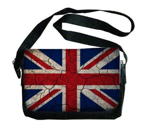 United Kingdom Flag Crackledデザインメッセンジャーバッグ   B00FMFOCG6