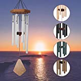 Amazing Grace Wind Chime Outdoor, 28 Inches Medium Wind Chime with 6 Silver-Colored Aluminum Metal Tubes, Soothing Melodic Tone Musical Wind Chime for Home, Party, Garden, Décor