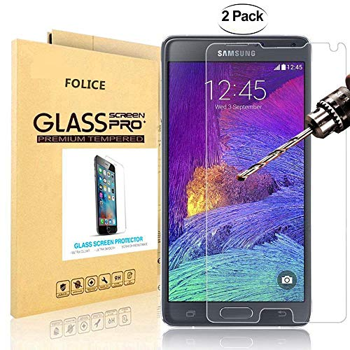 [2-Pack] Samsung Galaxy Note 4 Screen Protector, FOLICE [HD-Clear] [Tempered Glass] with [0.3mm Ultra Thin 9H Hardness 2.5D Round Edge] Lifetime Replacement Warranty (for Galaxy Note 4)