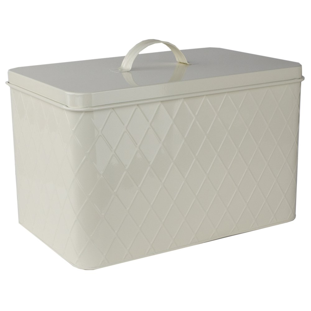 Home Basics CS47554 Trellis Tin, Ivory Bread Box, One Size HDS Trading Corp.