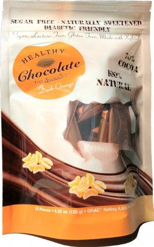 Xylitol Sweetened ORANGE Flavored Dark Chocolate, 15 pcs, 4.23 oz by Healthy Chocolate Company by Healthy Chocolate Company