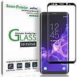 Galaxy S9 Protector de Pantalla, amFilm Cobertura Total (3D Curvo) Cristal Vidrio Templado Protector de Pantalla para Samsung Galaxy S9 (1 Pack, Negro)