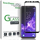 "Galaxy S9 Screen Protector Glass, amFilm 3D Curved Dot Matrix Full Screen Samsung Galaxy S9 Tempered Glass Screen Protector (5.8"") 2018 with Easy Application Tray (NOT S9 PLUS) (Case Friendly)"
