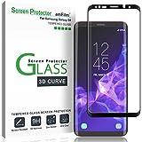 "Galaxy S9 Screen Protector Glass, amFilm 3D Curved Dot Matrix Full Screen Samsung Galaxy S9 Tempered Glass Screen Protector (5.8"") 2018 with Easy Application Tray (NOT S9 Plus) (Case Friendly)"