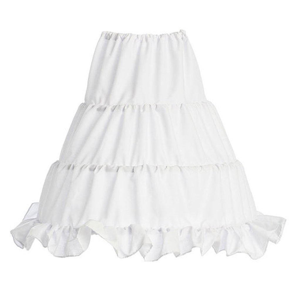 WonderfulDress Girls 3-Hoops Flower Girl Crinoline Petticoat Skirt (30'' (Fits 10-12 years), White)
