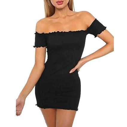 d16002cea42f Amazon.com   Dianli Womens Off Shoulder Mini Dress Ladies Seersucker ...
