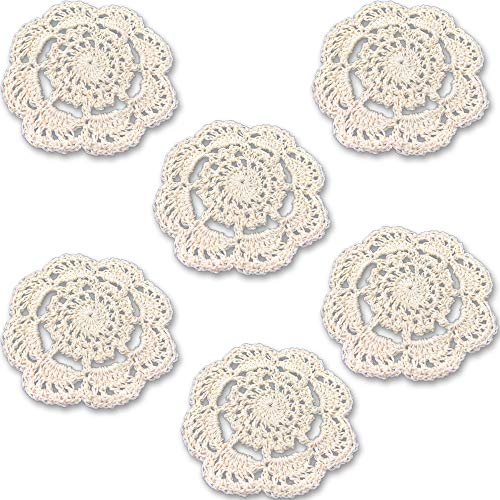 Rusoji Pack of 6 Handmade 4-Inch Small Plain Color Round Cotton Lace Crochet Coasters Placemat Doilies (Beige)