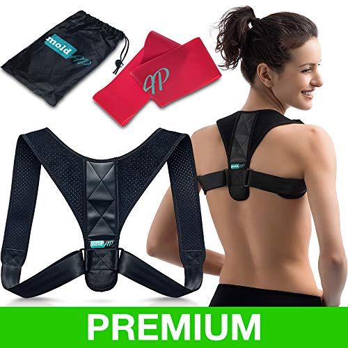 Body Wellness Posture Corrector for Women & Men - Thoracic Back Brace for Perfect Posture - Adjustable and Comfortable Clavicle Brace - Posture Fixer - Resistance Band & Bag INCLUDED by moldAP ()