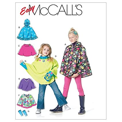 McCall's Patterns M6196 Children's/Girls' Ponchos and Arm Warmers, Size CX  (XSM-SML)