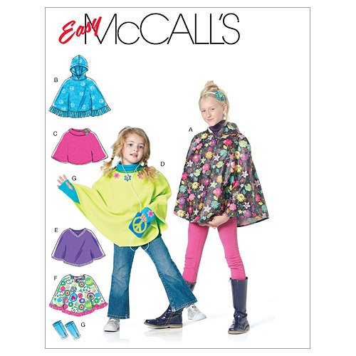 McCall's Patterns M6196 Children's/Girls' Ponchos and Arm Warmers, Size CX (XSM-SML) (Crochet Pattern Child Poncho)