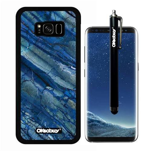 Galaxy S8 Plus Case, Pale Blue Fault Marble Texture Case, OkSoBuy Ultra Thin Soft Silicone Case for Samsung Galaxy S8 Plus - Pale Blue Fault Marble (Light Sapphire Pale)
