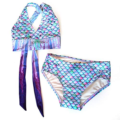 Sun Tails Mermaid Swimsuit - Girls Bikini Set - Matching Scale Colors (3- Child M (6/7), Aurora Borealis)