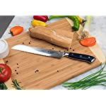HANZO Serrated Bread Knife Professional - 9 inch Katana Series - 67 ply Japanese VG10 steel - G10 Military Grade Custom Contoured Handle - Outstanding handling and edge retention 16 PERFORMANCE -Perfect performance, durability and comfort for professional chefs, cooks and culinary enthusiasts. Ancient craftmanship combines with modern technology and results in a knife with perfect balance and feel, stunning looks and most importantly outstanding performance in any kitchen DURABILITY AND STRENGTH - Hanzo serrated knives come to you ready to use Built from ultra sharp VG-10 Japanese steel layered 67 times with a triple riveted full length tang your new knife has exceptional strength durability and resilience no matter if you use it in a commercial kitchen or just everyday use at home UNPARALLELED PERFORMANCE comes from attention to detail. Perfectly balanced with just the right heft the scalpel like blade makes food prep easy, smoothly slicing through breads cakes vegetables fruit and meats. Perfect for professional chefs to home cooks it will add a touch of class to your kitchen