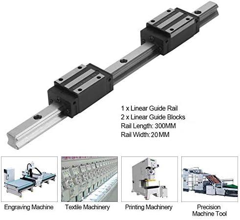 LSS-MDS 300mm Linearführungsschiene, 0.17kN.m HGR20 Linear Motion Gleitschiene, M4x16mm Linear Gleitführungsschiene, Lager Stahl Linearschienenführung mit 2ST Slider, for Textilmaschinen, Druckmaschin