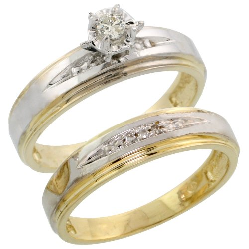 - Gold Plated Sterling Silver Ladies 2-Piece Diamond Engagement Wedding Ring Set, Size 10