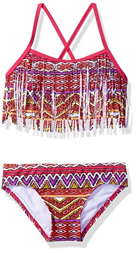 Kanu Surf Big Girls' Carrie Tribal Fringe Bikini Swimsuit, Multi, 12