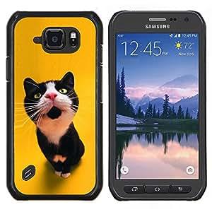 Gato curioso lindo- Metal de aluminio y de plástico duro Caja del teléfono - Negro - Samsung Galaxy S6 active / SM-G890 (NOT S6)