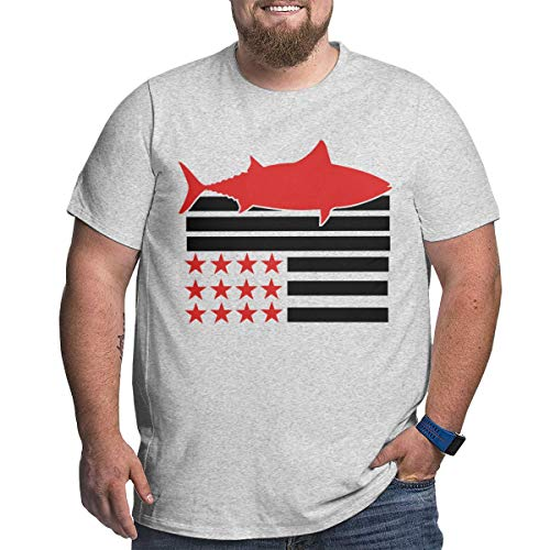 (Aiw Wfdnn American Flag Tuna Men's Plus Size T-Shirts Short Sleeve)