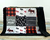 Moose Baby Blanket - Little Man Baby Blanket - Minky Baby Blanket - Black White Red - Woodland Blanket -Baby Blanket - Nursery Decor - Crib Bedding - Faux Patchwork